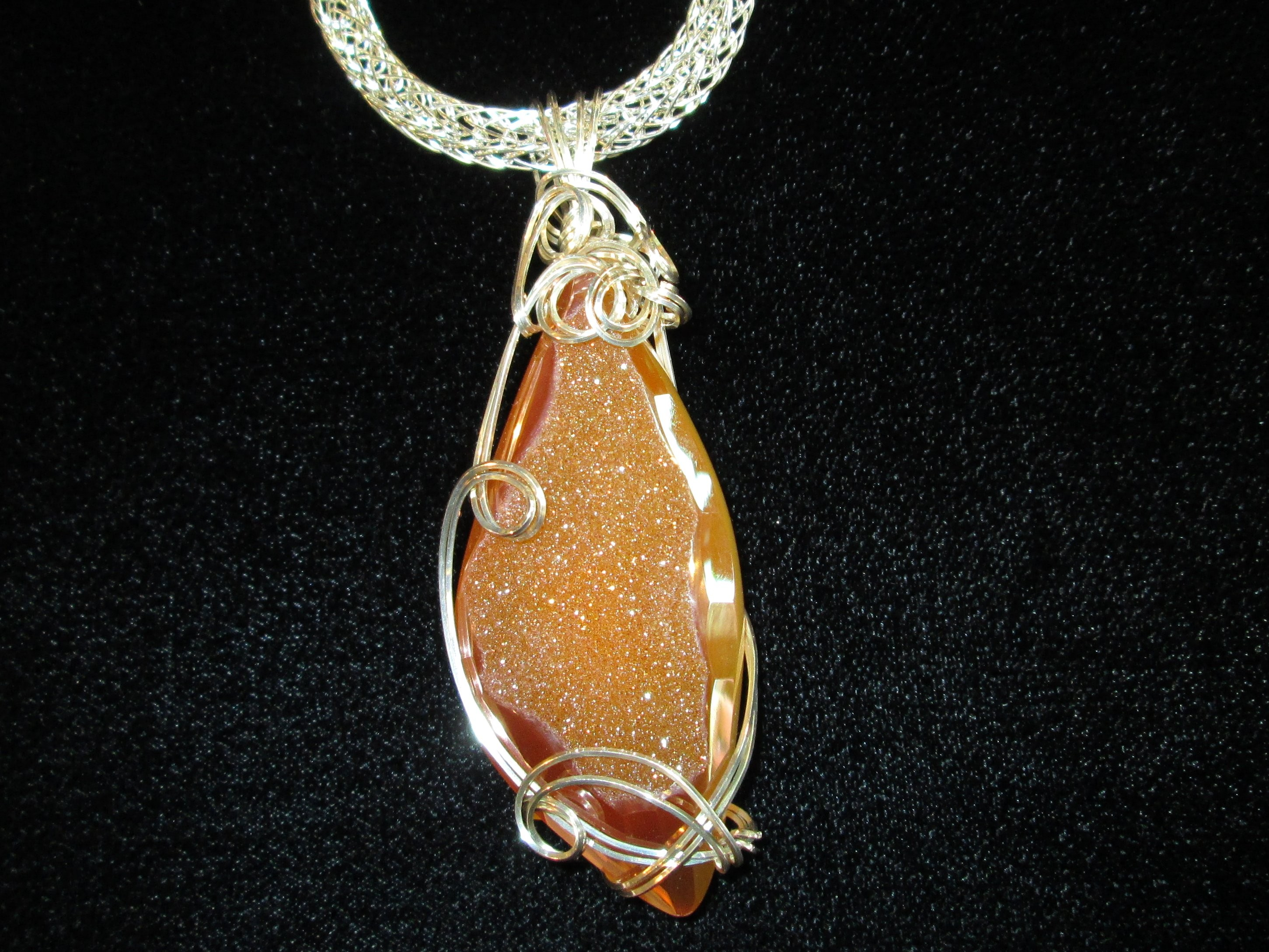 Sunset Agate Drusy Pendant in Sterling Silver $329