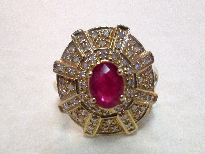 14 Karat Yellow Gold Ruby and Diamond Ring $1399