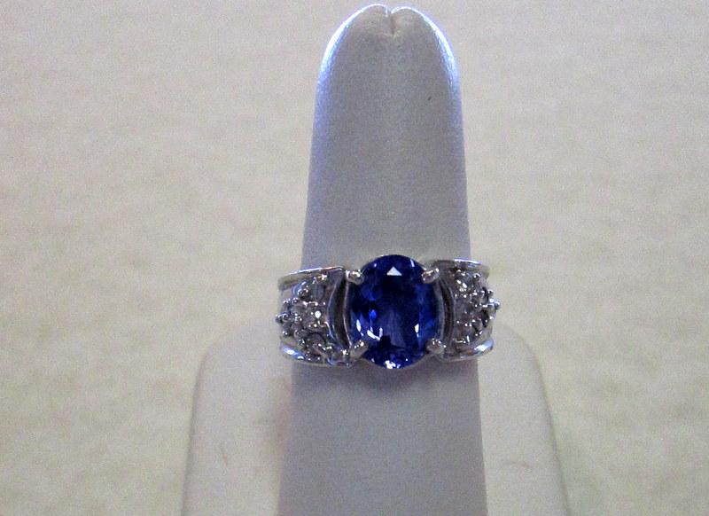 14 Karat White Gold Tanzanite and Diamond Ring $3500