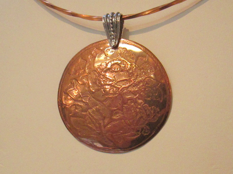 Copper Flower Etched Pendant $69