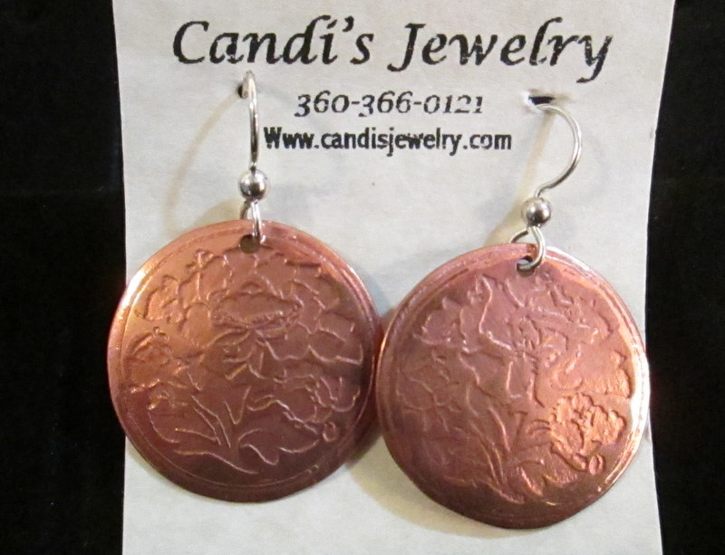 Copper Flower Etched Earrings  $29