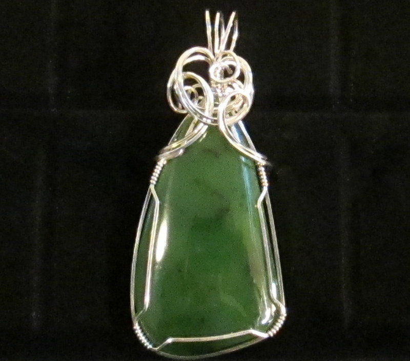 Jade Pendant Wrapped in Sterling Silver $129